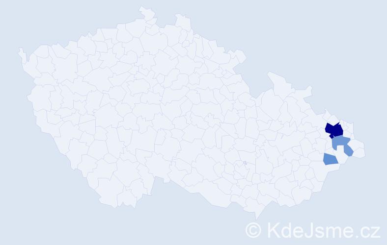 Příjmení: 'Krčmarská', počet výskytů 17 v celé ČR