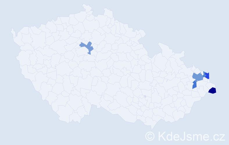 Příjmení: 'Cieluchová', počet výskytů 9 v celé ČR