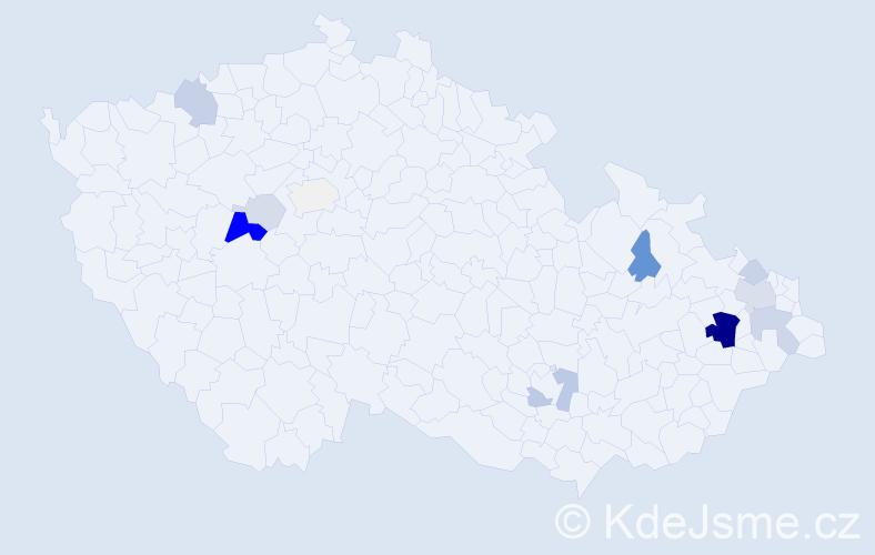 Příjmení: 'Hříva', počet výskytů 36 v celé ČR