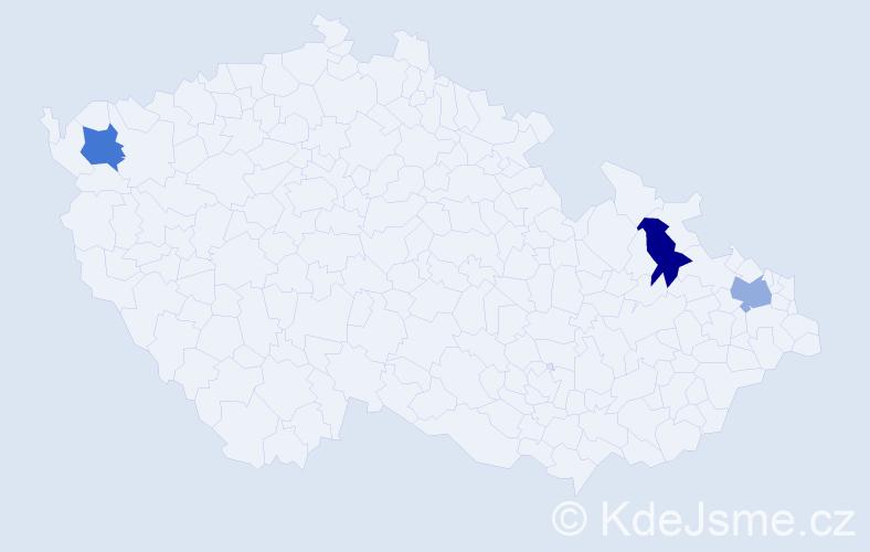 Příjmení: 'Gwoždžová', počet výskytů 3 v celé ČR