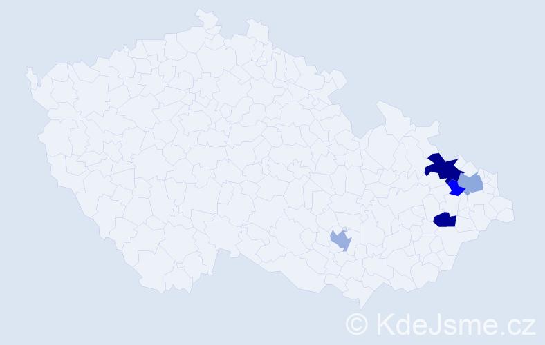 Příjmení: 'Čončka', počet výskytů 11 v celé ČR