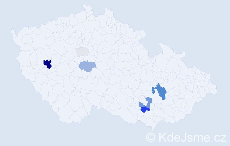 Příjmení: 'Bojo', počet výskytů 24 v celé ČR
