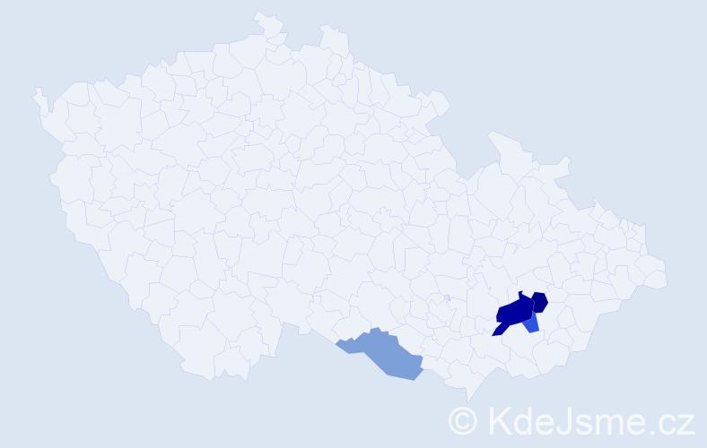 Příjmení: 'Kadlánková', počet výskytů 6 v celé ČR