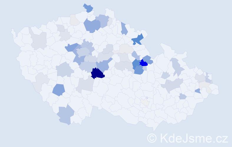 Příjmení: 'Jeništa', počet výskytů 213 v celé ČR