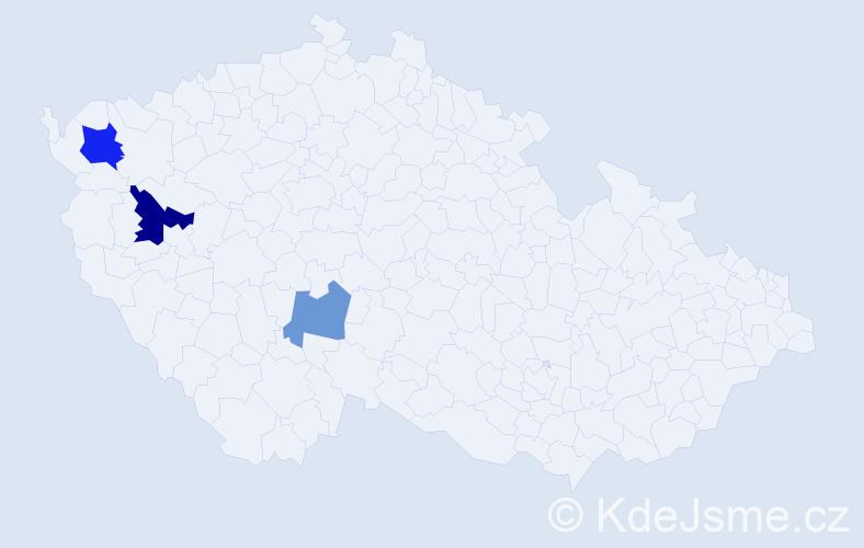 Příjmení: 'Grznar', počet výskytů 5 v celé ČR
