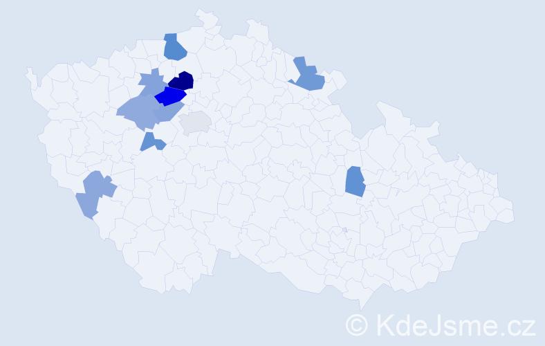 Příjmení: 'Klomínský', počet výskytů 21 v celé ČR