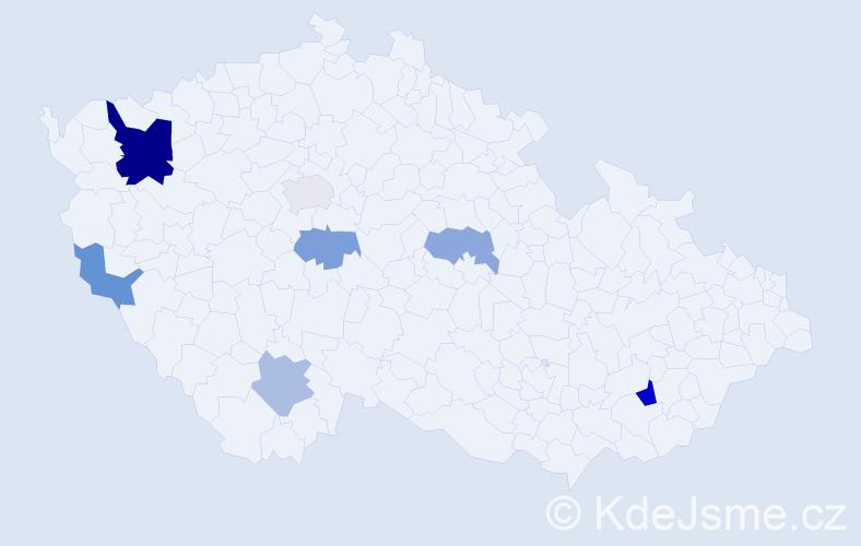Příjmení: 'Dado', počet výskytů 12 v celé ČR