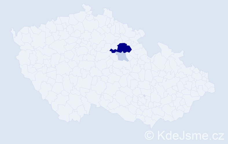 Příjmení: 'Izach', počet výskytů 13 v celé ČR