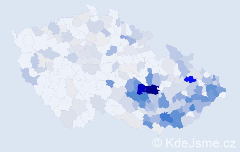 Příjmení: 'Ježová', počet výskytů 853 v celé ČR