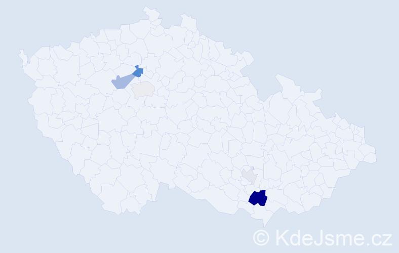 Příjmení: 'Gutmanová', počet výskytů 11 v celé ČR