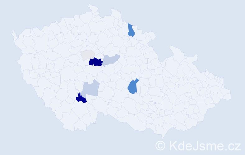 Příjmení: 'Kajuková', počet výskytů 19 v celé ČR