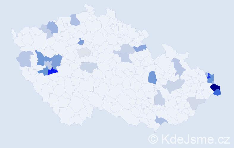 Příjmení: 'Kullová', počet výskytů 83 v celé ČR