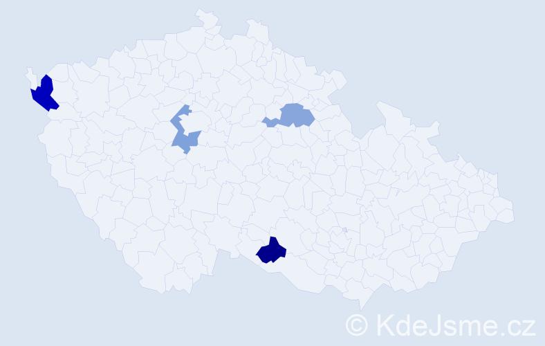 Příjmení: 'Cibuĺa', počet výskytů 5 v celé ČR