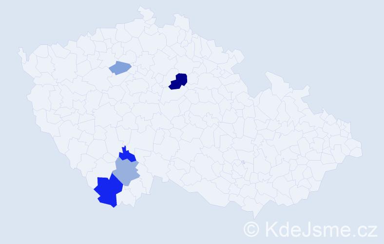 Příjmení: 'Kibusová', počet výskytů 10 v celé ČR