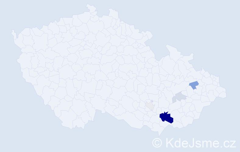 Příjmení: 'Andrešič', počet výskytů 16 v celé ČR