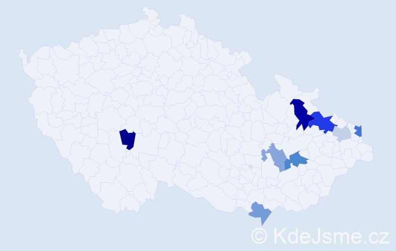 Příjmení: 'Dadej', počet výskytů 13 v celé ČR