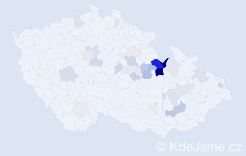 Příjmení: 'Hejkrlíková', počet výskytů 80 v celé ČR