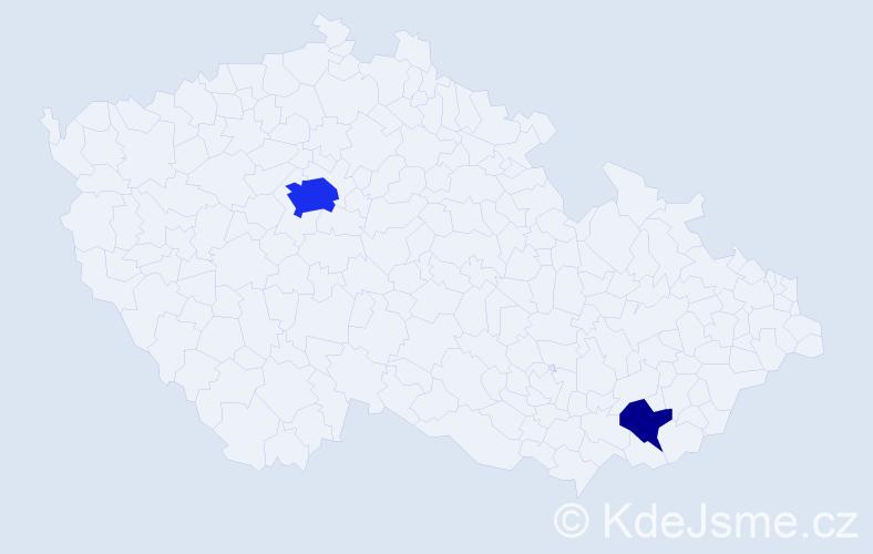 Příjmení: 'Klicpouch', počet výskytů 7 v celé ČR