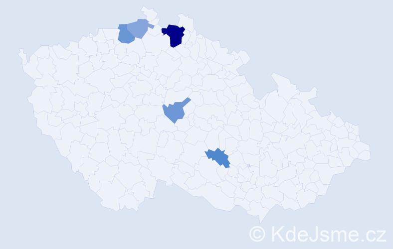Příjmení: 'Bělohorský', počet výskytů 11 v celé ČR