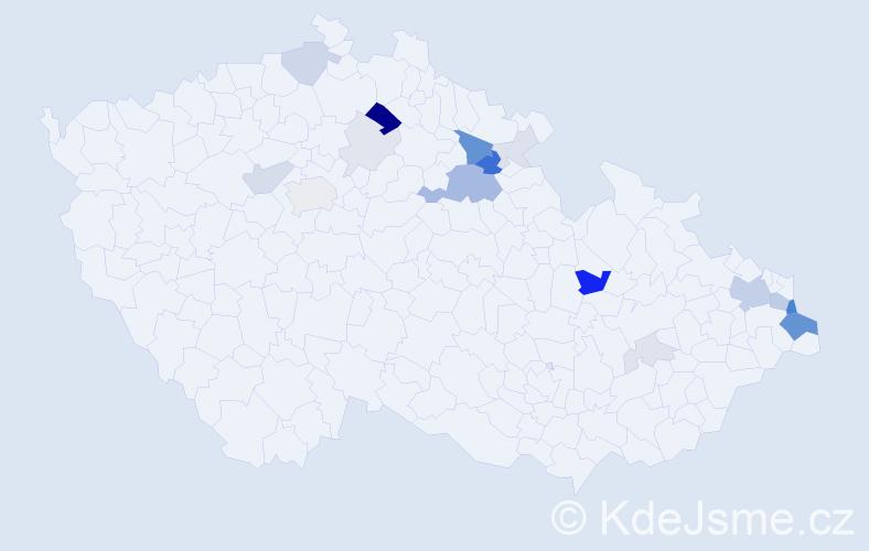 Příjmení: 'Ďurček', počet výskytů 58 v celé ČR