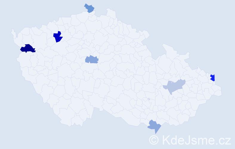 Příjmení: 'Durkot', počet výskytů 12 v celé ČR