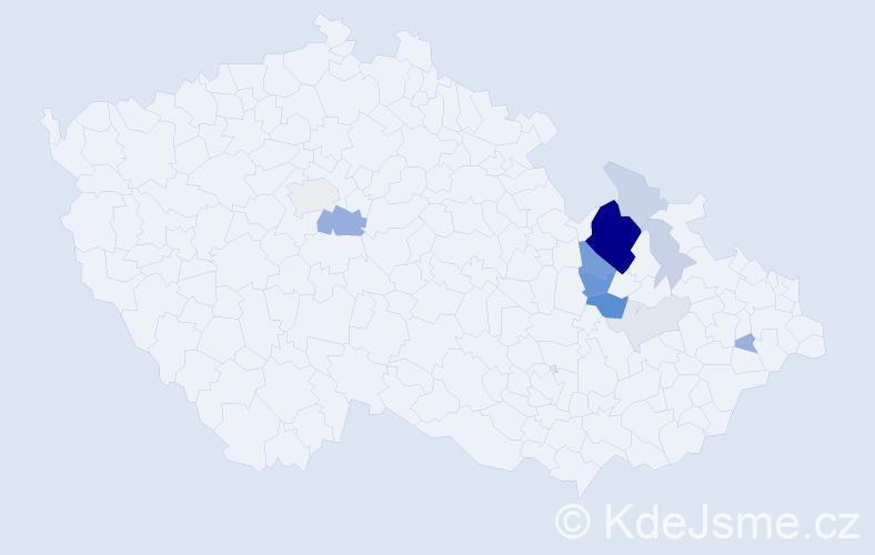 Příjmení: 'Člupná', počet výskytů 37 v celé ČR