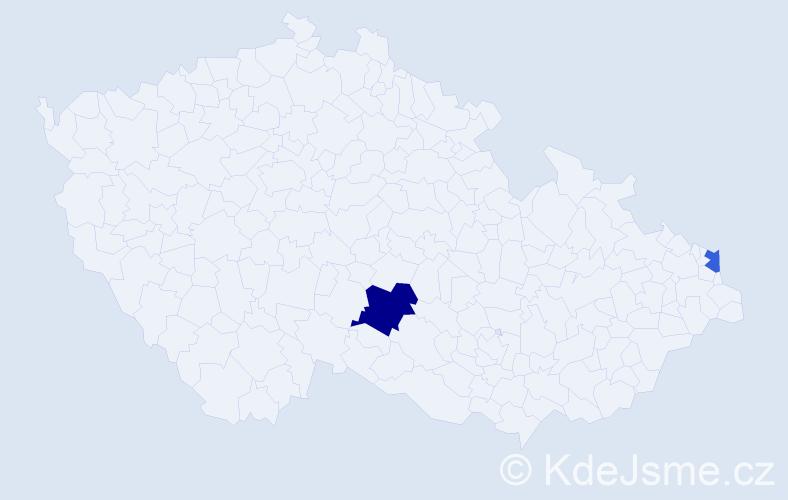 Příjmení: 'Lábanová', počet výskytů 3 v celé ČR