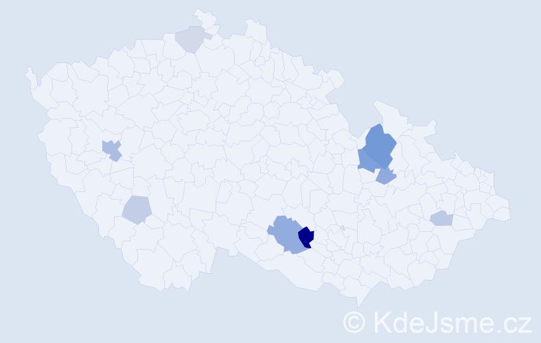 Příjmení: 'Budějovský', počet výskytů 21 v celé ČR