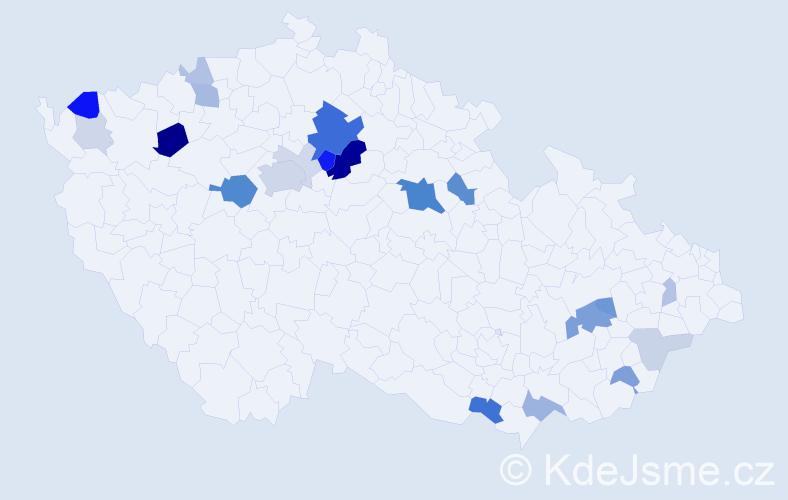 Příjmení: 'Krmenčík', počet výskytů 66 v celé ČR