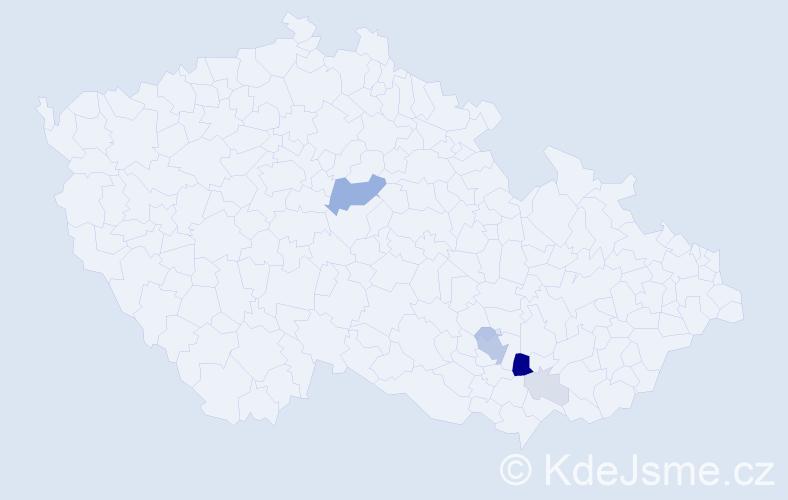 Příjmení: 'Gruml', počet výskytů 25 v celé ČR