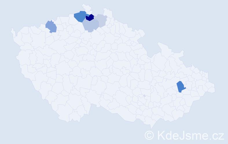Příjmení: 'Fak', počet výskytů 13 v celé ČR