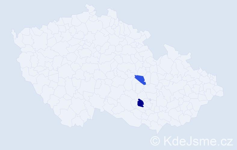 Příjmení: 'Adamča', počet výskytů 3 v celé ČR