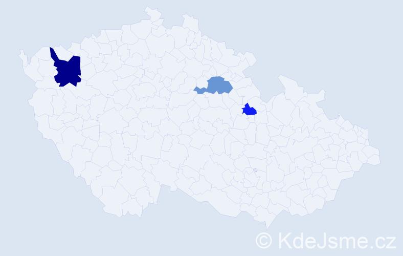 Příjmení: 'Gabalec', počet výskytů 7 v celé ČR