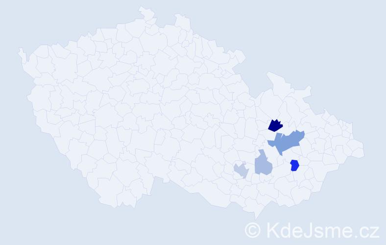 Příjmení: 'Entrová', počet výskytů 13 v celé ČR