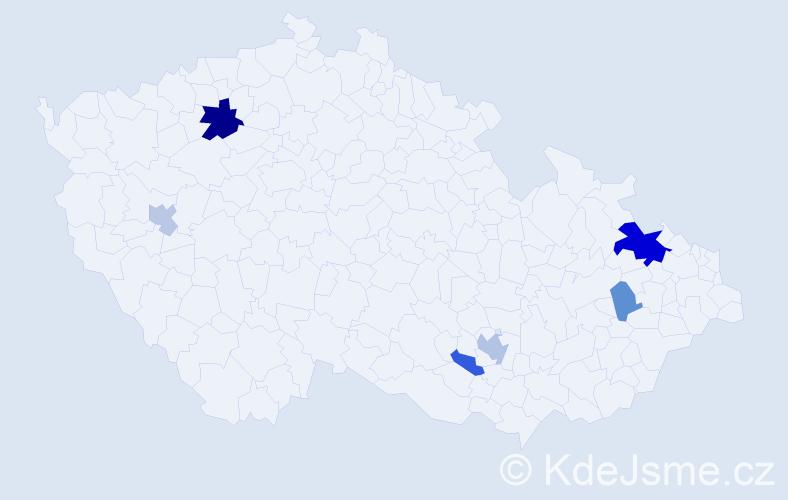 Příjmení: 'Brunková', počet výskytů 13 v celé ČR