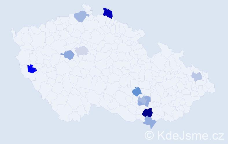 Příjmení: 'Guldanová', počet výskytů 20 v celé ČR