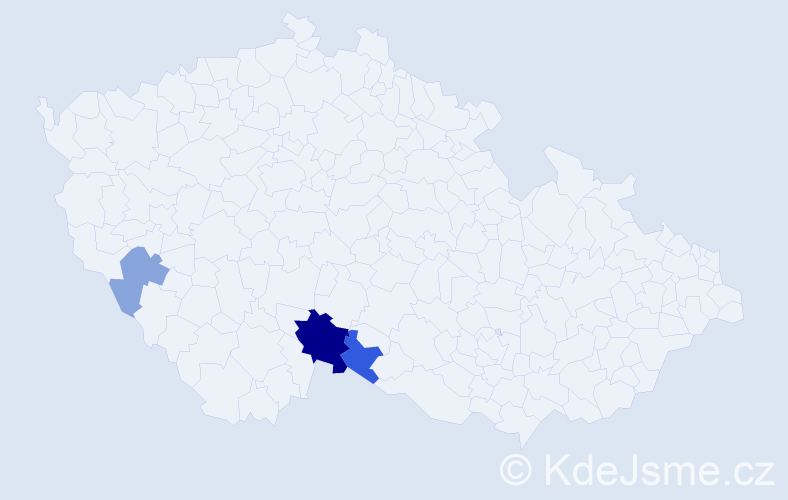 Příjmení: 'Gerl', počet výskytů 6 v celé ČR