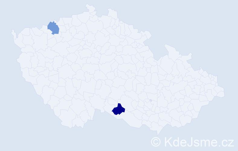 Příjmení: 'Kněžníková', počet výskytů 2 v celé ČR
