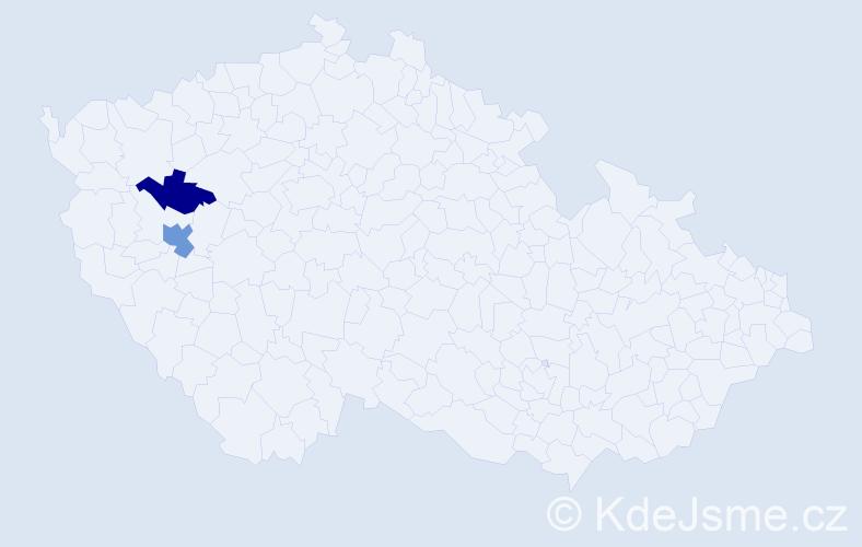 Příjmení: 'Hackr', počet výskytů 3 v celé ČR