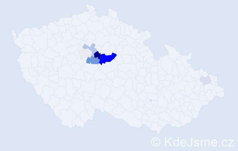 Příjmení: 'Češner', počet výskytů 13 v celé ČR