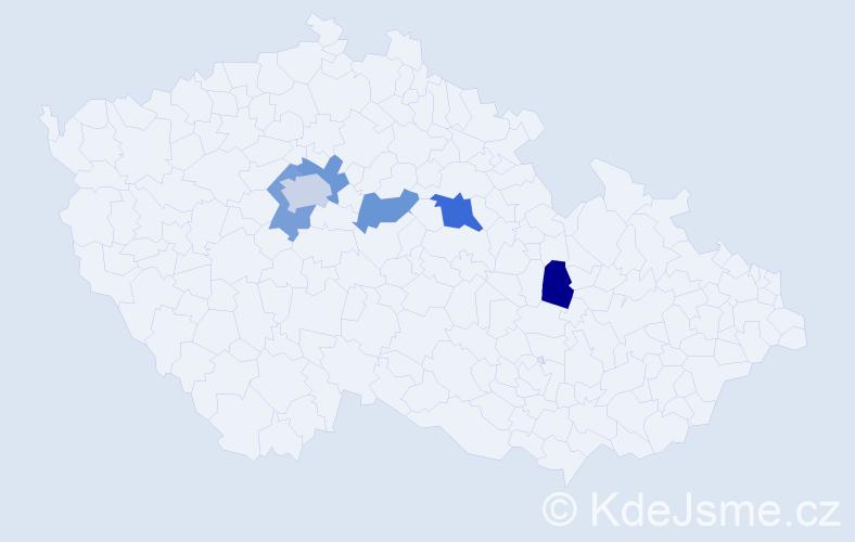 Příjmení: 'Ganevová', počet výskytů 8 v celé ČR