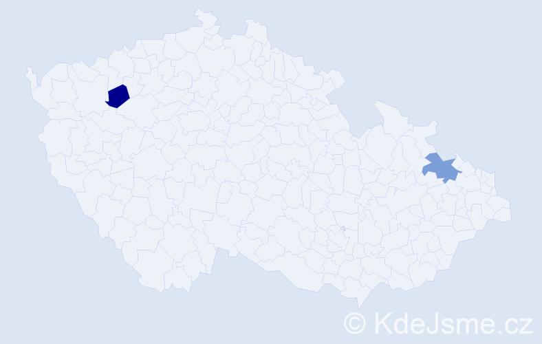 Příjmení: 'Czabková', počet výskytů 5 v celé ČR