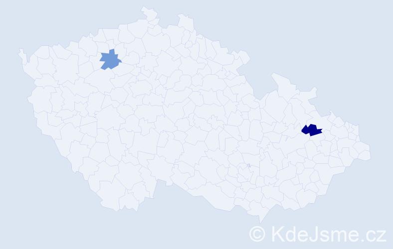 Příjmení: 'Immr', počet výskytů 4 v celé ČR