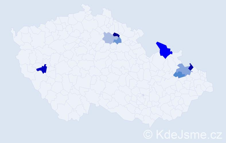 Příjmení: 'Današová', počet výskytů 19 v celé ČR
