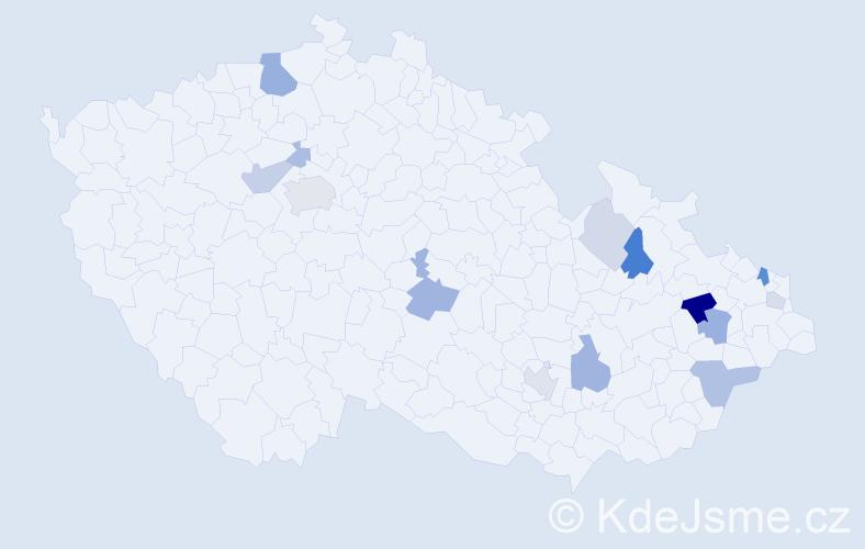 Příjmení: 'Kneblíková', počet výskytů 32 v celé ČR