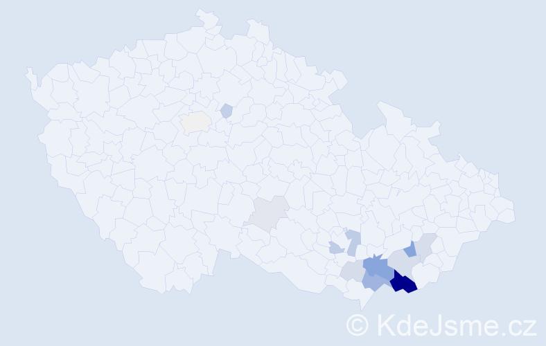 Příjmení: 'Galečka', počet výskytů 45 v celé ČR