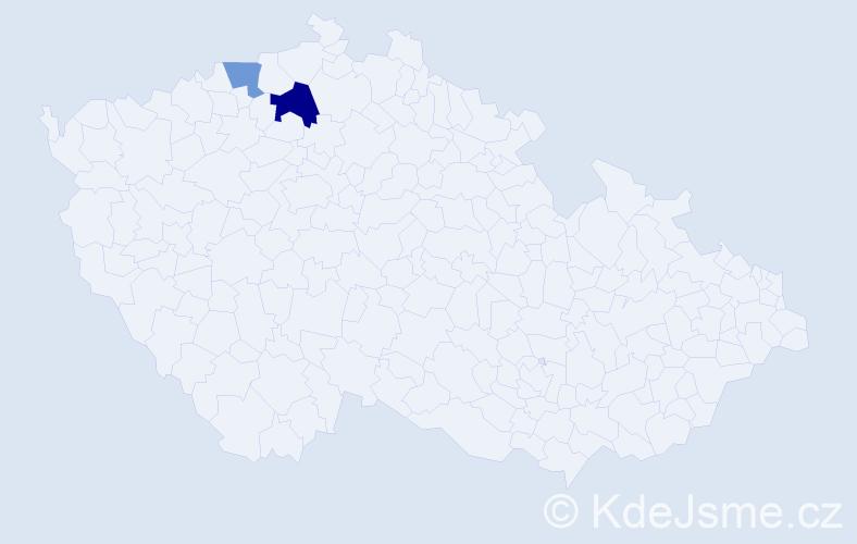 Příjmení: 'Gerková', počet výskytů 6 v celé ČR
