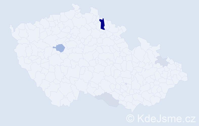 Příjmení: 'Kázmerová', počet výskytů 9 v celé ČR