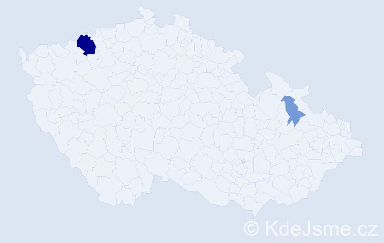 Příjmení: 'Illiková', počet výskytů 7 v celé ČR