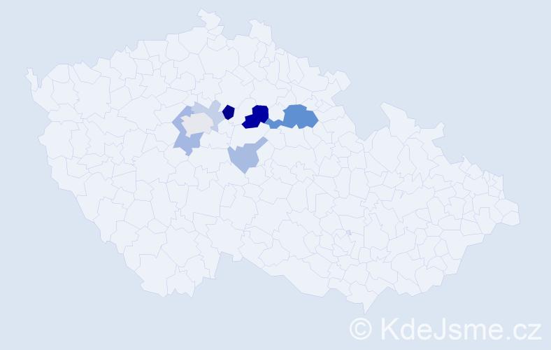 Příjmení: 'Blűml', počet výskytů 19 v celé ČR